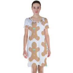 Pattern Christmas Biscuits Pastries Short Sleeve Nightdress