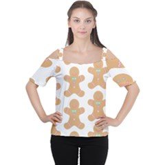 Pattern Christmas Biscuits Pastries Women s Cutout Shoulder Tee