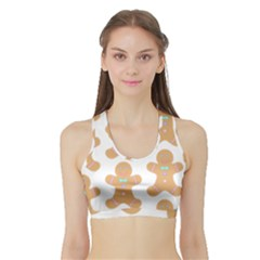 Pattern Christmas Biscuits Pastries Sports Bra with Border