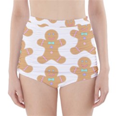 Pattern Christmas Biscuits Pastries High-Waisted Bikini Bottoms