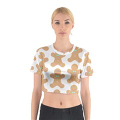 Pattern Christmas Biscuits Pastries Cotton Crop Top