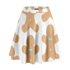 Pattern Christmas Biscuits Pastries High Waist Skirt