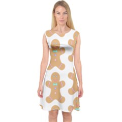 Pattern Christmas Biscuits Pastries Capsleeve Midi Dress