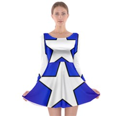 Star Background Tile Symbol Logo Long Sleeve Skater Dress