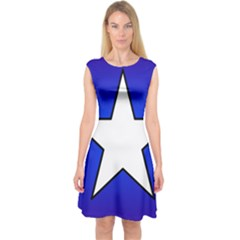 Star Background Tile Symbol Logo Capsleeve Midi Dress