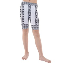 Pattern Background Texture Black Kids  Mid Length Swim Shorts