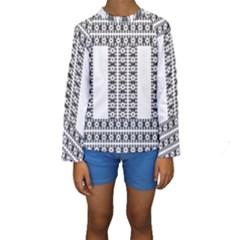 Pattern Background Texture Black Kids  Long Sleeve Swimwear