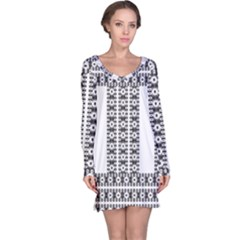 Pattern Background Texture Black Long Sleeve Nightdress