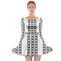 Pattern Background Texture Black Long Sleeve Skater Dress