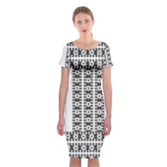 Pattern Background Texture Black Classic Short Sleeve Midi Dress