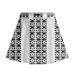 Pattern Background Texture Black Mini Flare Skirt