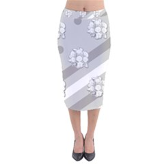 Stripes Pattern Background Design Velvet Midi Pencil Skirt