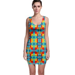 Pop Art Abstract Design Pattern Sleeveless Bodycon Dress