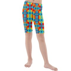 Pop Art Abstract Design Pattern Kids  Mid Length Swim Shorts