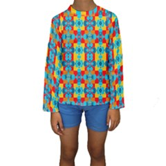 Pop Art Abstract Design Pattern Kids  Long Sleeve Swimwear