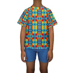 Pop Art Abstract Design Pattern Kids  Short Sleeve Swimwear