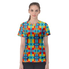 Pop Art Abstract Design Pattern Women s Sport Mesh Tee