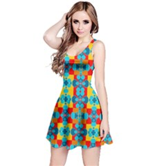 Pop Art Abstract Design Pattern Reversible Sleeveless Dress