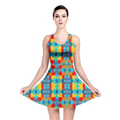 Pop Art Abstract Design Pattern Reversible Skater Dress