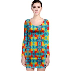 Pop Art Abstract Design Pattern Long Sleeve Bodycon Dress