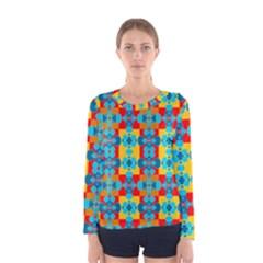 Pop Art Abstract Design Pattern Women s Long Sleeve Tee