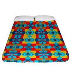 Pop Art Abstract Design Pattern Fitted Sheet (California King Size)