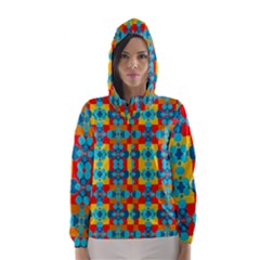 Pop Art Abstract Design Pattern Hooded Wind Breaker (Women)