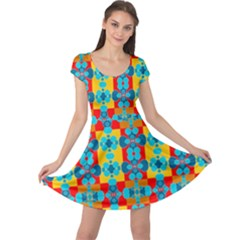 Pop Art Abstract Design Pattern Cap Sleeve Dresses