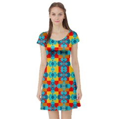 Pop Art Abstract Design Pattern Short Sleeve Skater Dress