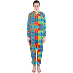 Pop Art Abstract Design Pattern Hooded Jumpsuit (Ladies)