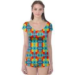Pop Art Abstract Design Pattern Boyleg Leotard