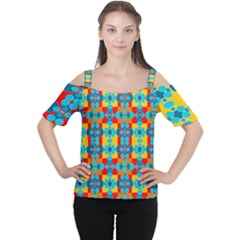 Pop Art Abstract Design Pattern Women s Cutout Shoulder Tee