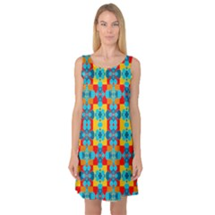 Pop Art Abstract Design Pattern Sleeveless Satin Nightdress