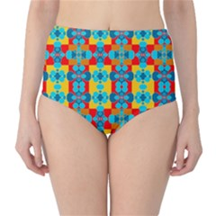 Pop Art Abstract Design Pattern High-Waist Bikini Bottoms