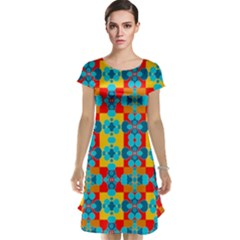 Pop Art Abstract Design Pattern Cap Sleeve Nightdress