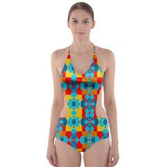 Pop Art Abstract Design Pattern Cut-Out One Piece Swimsuit