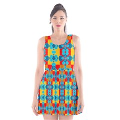 Pop Art Abstract Design Pattern Scoop Neck Skater Dress