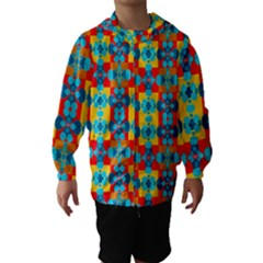 Pop Art Abstract Design Pattern Hooded Wind Breaker (Kids)