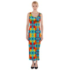 Pop Art Abstract Design Pattern Fitted Maxi Dress