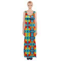 Pop Art Abstract Design Pattern Maxi Thigh Split Dress