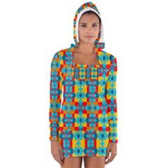 Pop Art Abstract Design Pattern Women s Long Sleeve Hooded T-shirt