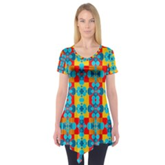 Pop Art Abstract Design Pattern Short Sleeve Tunic