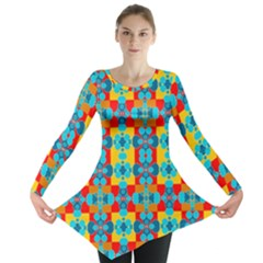 Pop Art Abstract Design Pattern Long Sleeve Tunic