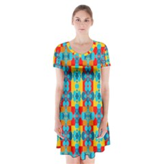 Pop Art Abstract Design Pattern Short Sleeve V-neck Flare Dress