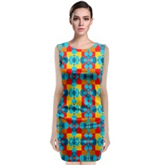 Pop Art Abstract Design Pattern Classic Sleeveless Midi Dress