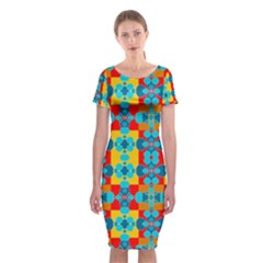 Pop Art Abstract Design Pattern Classic Short Sleeve Midi Dress