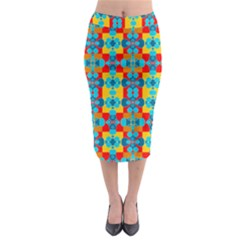 Pop Art Abstract Design Pattern Midi Pencil Skirt