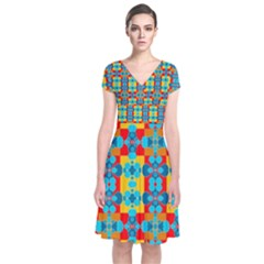 Pop Art Abstract Design Pattern Short Sleeve Front Wrap Dress