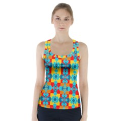Pop Art Abstract Design Pattern Racer Back Sports Top