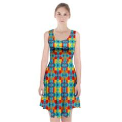 Pop Art Abstract Design Pattern Racerback Midi Dress